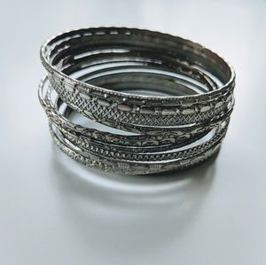 Anthro Silver Metal Stacking Bangles